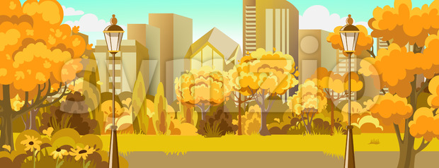 Peisage of autumn park near city. Warm colors. Skyscrapers. Vector Stock Vector