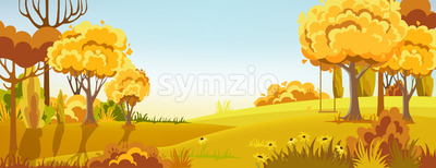 Peisage of a autumn forest. Warm colors. Swing on the tree branch. Vector Stock Vector