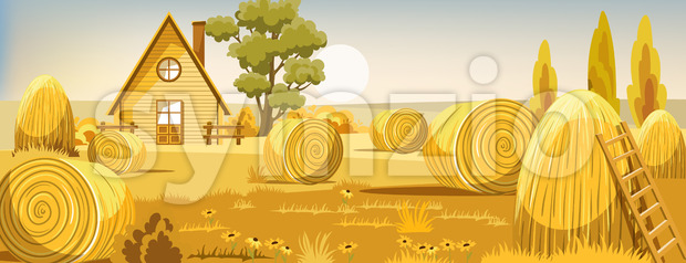 Peisage of a field with haystacks. Autumn season. Old farm house. Vector Stock Vector