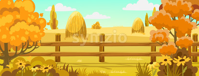 Peisage of a field with haystacks nearby a forest. Autumn. Warm colors. Vector Stock Vector