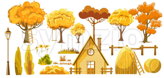 Set of trees, bushes, house, haystacks, lantern and flower. Autumn thematic. Vector Stock Vector