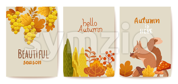 Set of autumn thematics cards. Grapes, bushes, leaves, twigs, squirrel, mushrooms and acorn. Vector