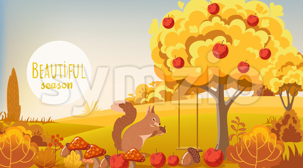 Autumn forest. Squirrel eating a acorn. Tree filled with apples, bushes, mushrooms. Vector