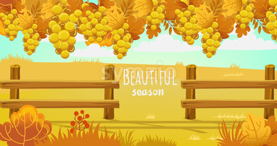 Autumn field surrounded by a wooden fence. Bushes, twigs and grapes. Vector Stock Vector