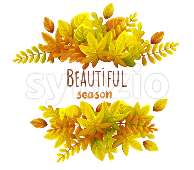 Composition of autumn leaves. Autumn thematics. Warm colors. Beautiful season. Vector Stock Vector