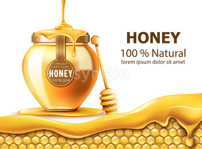 Honeycombs and a jar with honey. Dripping down. Natural product. With place for text. Realistic. Vector Stock Vector