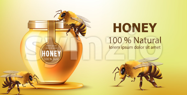 Jar filled with honey surrounded by bees. Natural product. With place for text. Realistic. Vector Stock Vector