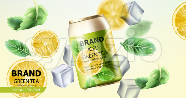 Can of iced green tea surrounded by ice cubes, mint and lemon slices. Place for text. Realistic. Vector Stock Vector