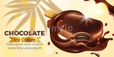 Chocolate ice cream with palm leaf in background. Flowing and dripping. Place for text. Realistic. Vector Stock Vector