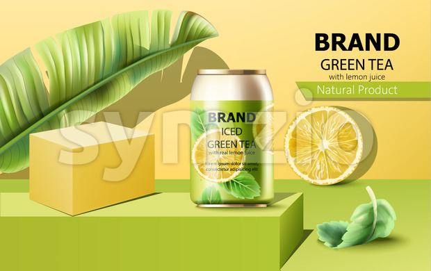 Can of iced green tea on podium surrounded by mint, lemon slice and tropical leaf. Place for text. Realistic. Vector Stock Vector