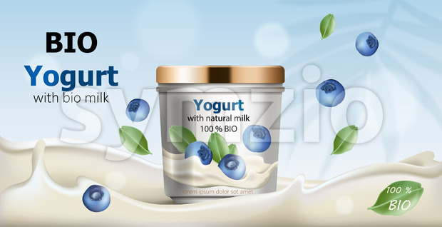 Container surrounded by flowing yogurt from natural milk, blueberries and leaves falling from air. 3D mockup with product placement. Realistic Vector Stock Vector