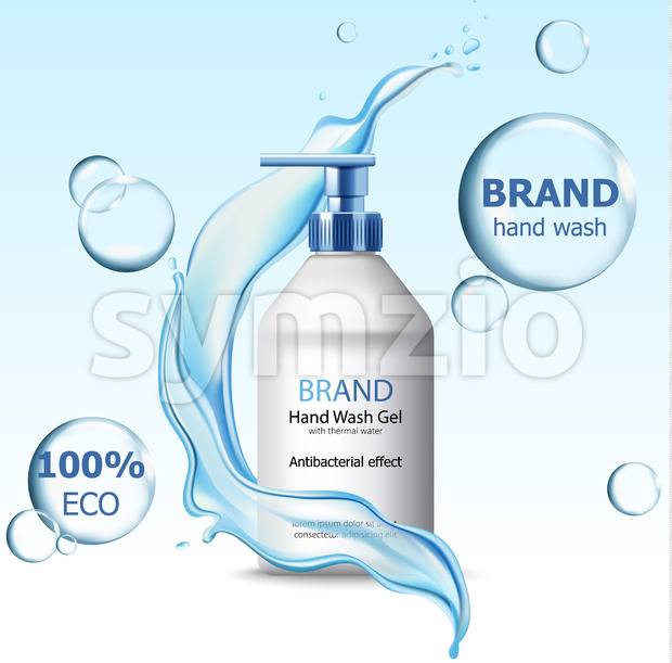 Eco hand wash gel with antibacterial effect container surrounded by bubbles and flowing water. 3D mockup with product placement. Realistic ...