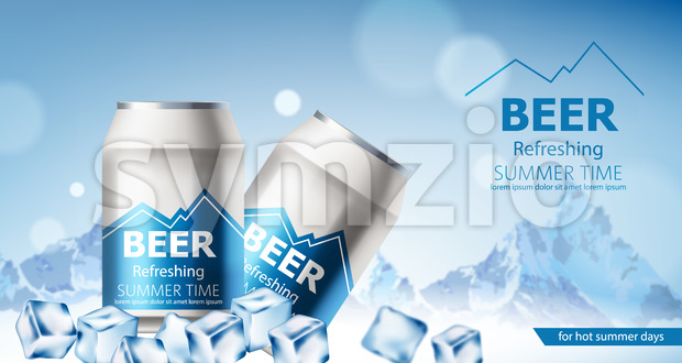 Two cans with refreshing beer submerged in ice cubes. Snowy mountains in background. 3D mockup with product placement. Realistic Vector Stock Vector