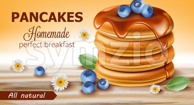 Stack of all natural pancakes covered in syrup and blueberries surrounded by chamomile flowers and leaves. Perfect homemade breakfast. 3D ...