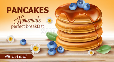Stack of all natural pancakes covered in syrup and blueberries surrounded by chamomile flowers and leaves. Perfect homemade breakfast. 3D mockup. Stock Vector