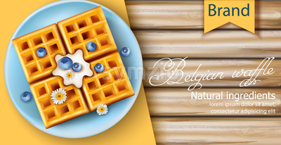 Belgian waffle covered in cream, blueberries and chamomile flowers on blue plate. Made using only natural ingredients. 3D mockup with product Stock Vector