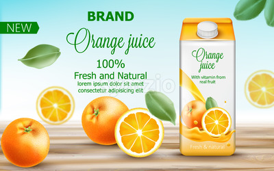 Carton box with orange juice surrounded by citruses and leaves. Fresh and natural vitamin from real fruit. 3D mockup with product placement. Realistic Stock Vector
