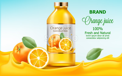 Bottle with fresh and natural juice submerged in flowing orange extract. 3D mockup with product placement. Realistic Vector Stock Vector