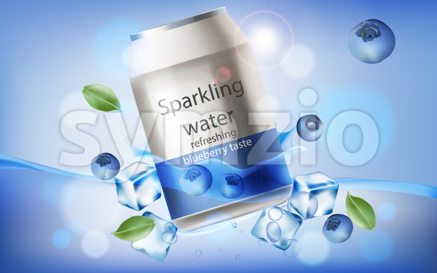 Can of refreshing sparkling water with blueberry taste submerged in water with ice cubes, mint leaves and berries. 3D mockup with product placement. Stock Vector