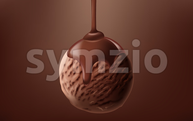Realistic cacao ice cream ball with liquid chocolate pouring on it. Vector Stock Vector