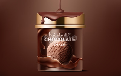 Realistic box of chocolate ice cream with liquid pouring from top on it. 3D mockup with product placement Vector Stock Vector