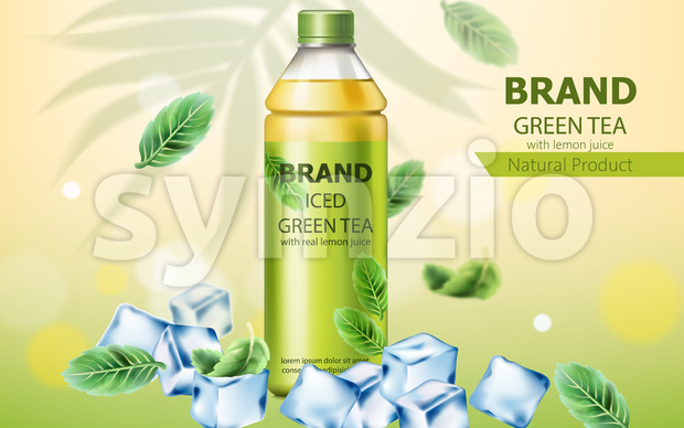 Realistic bottle of natural ice green tea with real lemon juice submerged in ice cubes and mint leaves. 3D mockup with product placement. Vector Stock Vector