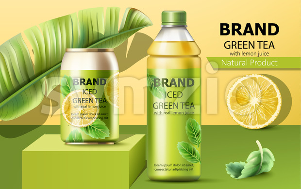 Realistic can on a podium and a bottle of natural ice green tea with real lemon juice surrounded by a palm and mint leaves. 3D mockup with product Stock Vector