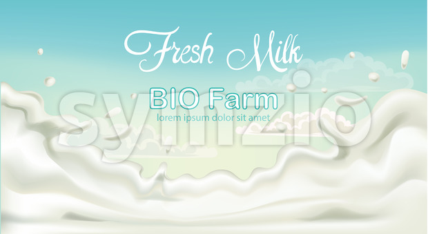 Splashing fresh milk from bio fam with blue sky in background. Place for text. 3D mockup product placement. Vector Stock Vector