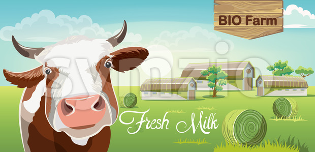 Cow with brown spots and a farm in background. Fresh bio milk. 3D mockup product placement. Vector Stock Vector