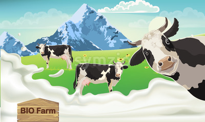 Three cows with black spots on a meadow looking at the camera. Mountains and blue sky in the background. Splashing milk from bio farm. 3D mockup Stock Vector