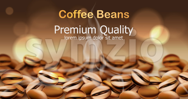 Premium quality coffee beans with smoke from them. Sparkling circles in background. Place for text. 3D mockup product placement. Vector Stock Vector
