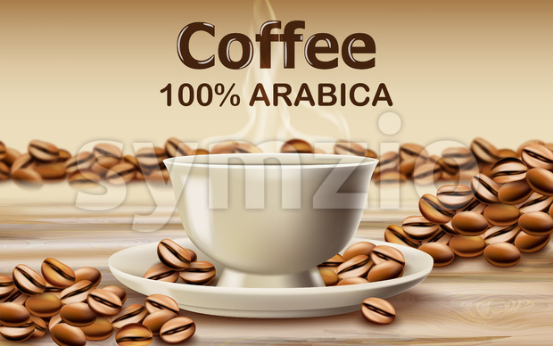 Cup of arabica coffee on a wooden desk surrounded by roasted coffee beans. 3D mockup product placement. Vector Stock Vector