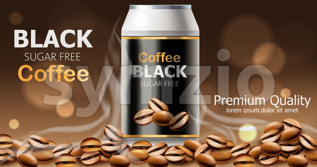 Can of premium quality sugar free black coffee. Place for text. 3D mockup product placement. Vector Stock Vector