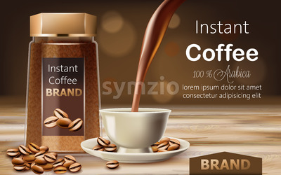 Glass jar with instant arabica coffee with roasted beans around it and a cup with liquid pouring from top. Place for text. 3D mockup product Stock Vector