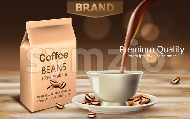 Bag with premium quality arabica coffee beans with a cup near with liquid pouring from top. Place for text. 3D mockup product placement. Vector Stock Vector