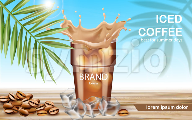 A cup with iced coffee surrounded by ice cubes and roasted beans. Best for summer days. Place for text. 3D mockup product placement. Vector Stock Vector