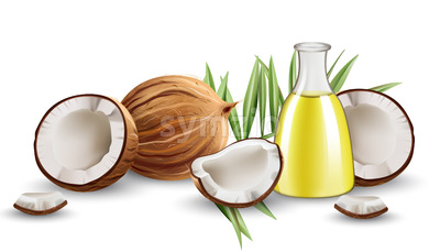 Whole and cracked open coconuts with monstera leaves and a carafe with oil. Realistic. 3D mockup product placement. Vector Stock Vector