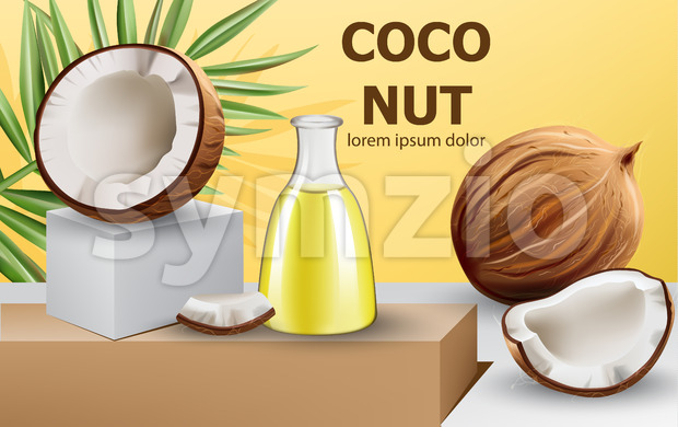 Whole and cracked open coconuts with monstera leaf and a carafe with oil on podium. Realistic. 3D mockup product placement. Place for text. Vector Stock Vector