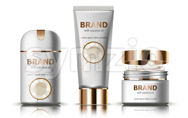 Set of deodorant and creams with coconut oil. Realistic. 3D mockup product placement. Place for text. Vector Stock Vector