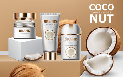 Deodorant and creams on podiums surrounded by whole and cracked open coconuts. Realistic. 3D mockup product placement. Place for text. Vector Stock Vector