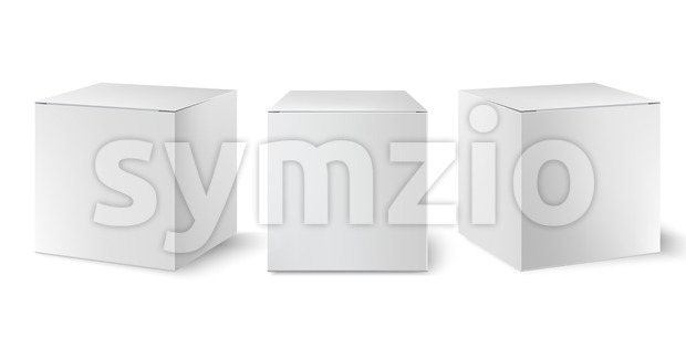 Set of three white boxes positioned at different angles. Realistic. 3D mockup product placement. Vector Stock Vector
