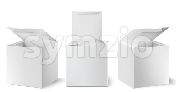 Set of three white boxes with opened lids positioned at different angles. Realistic. 3D mockup product placement. Vector Stock Vector