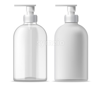 Set of two clear and white blanc dispensers. Realistic. 3D mockup product placement. Vector Stock Vector