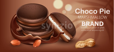 Three stacked choco pies with marshmallow surrounded by flowing chocolate and peanuts. Realistic. 3D mockup product placement. Place for text. Vector Stock Vector