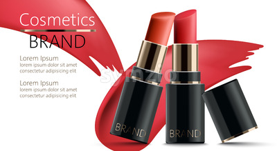 Two lipsticks leaning on each other. Realistic. 3D mockup product placement. Place for text. Vector Stock Vector