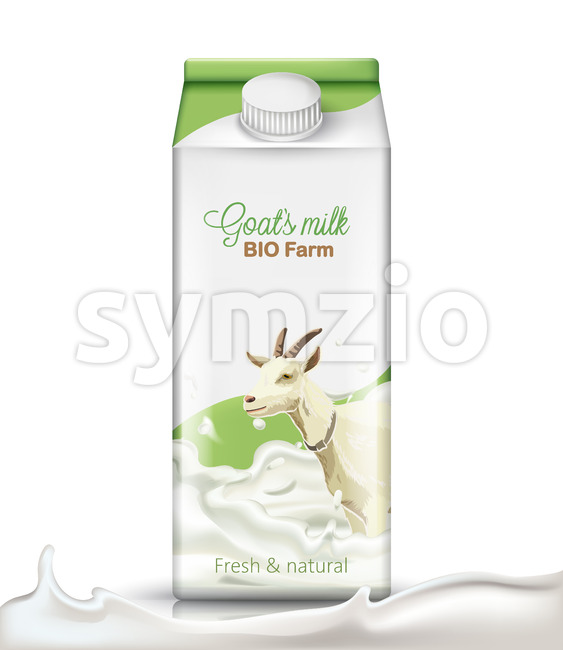 Carton box with a goat submerged in milk on it. Fresh and natural. Realistic. 3D mockup product placement. Vector Stock Vector