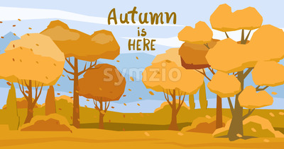 Autumnal forest with fallen orange leaves carried by the wind. Vector Stock Vector