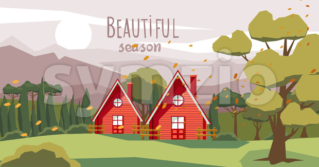 Two farm houses in the middle of the forest with fallen orange leaves carried by the wind. Beautiful season. Vector