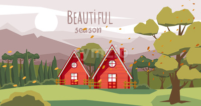 Two farm houses in the middle of the forest with fallen orange leaves carried by the wind. Beautiful season. Vector Stock Vector