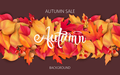 Abstract background with leaves, acorns and berries. Autumnal sale. Vector Stock Vector
